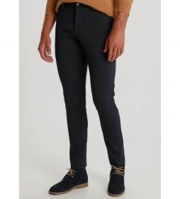 Pantalón Chino Estampado Knit azul marino