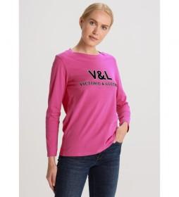 Camiseta manga larga Detalle Cuello rosa