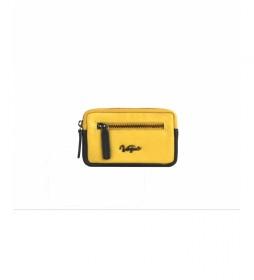 Portamonedas de piel Davis amarillo -7,5x12,5cm-