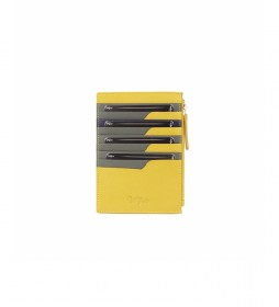 Tarjetero de piuel Nappa amarillo -15x10,5cm