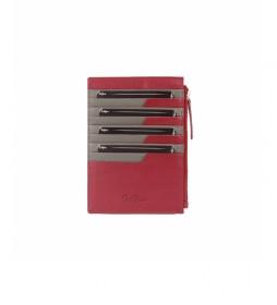 Tarjetero de piuel Nappa rojo -15x10,5cm