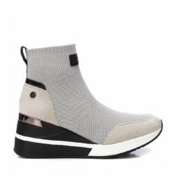 Zapatillas con cuña 43033 blanco -Altura cuña: 7cm-