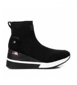 Zapatillas con cuña 43033 negro -Altura cuña: 7cm-