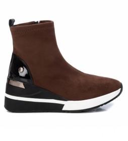Zapatillas con cuña 043101 marrón oscuro -Altura cuña: 6cm-