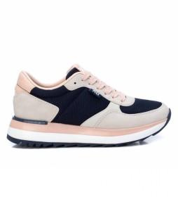Zapatillas 043436 beige, azul, rosa