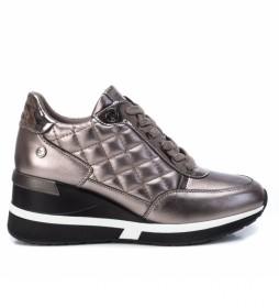 Zapatillas con cuña 043236 gris - Altura cuña 6cm -