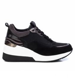 Zapatillas con cuña 043301 negro, gris - Altura cuña: 6cm -