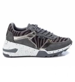Zapatillas 044599 gris -Altura cuña: 6 cm-