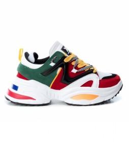 Zapatillas 049523 blanco, verde, rojo -Altura plataforma: 5cm-