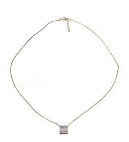 Collar Cuadrado plata chapado rosa