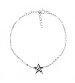 Pulsera Estrella plata rodiada onix