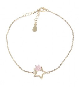 Pulsera Estrella plata chapada en oro rosa