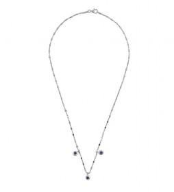 Collar Redondas plata rodiada zafiro