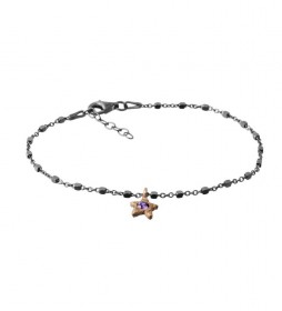 Pulsera Estrella plata rutenio amatista