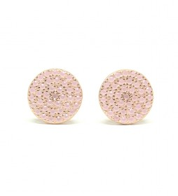 Pendientes Redonda plata chapado rosa