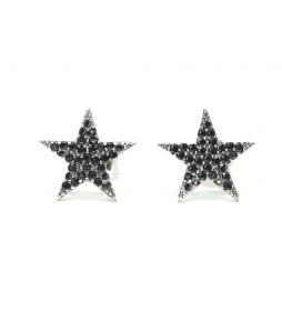 Pendientes Estrella plata rodiada onix