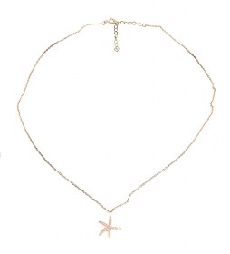 Collar Estrella plata chapado rosa