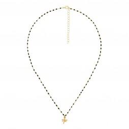 Collar de Plata Chapado en Oro Cadena Rosario Libélula dorado, negro