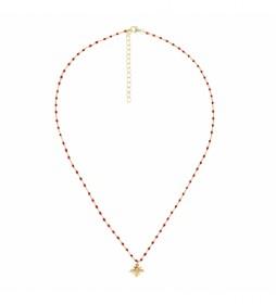 Collar de Plata Chapado en Oro Cadena Rosario Abeja rojo, dorado