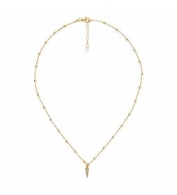 Collar de Plata Chapado en Oro Bolitas con Flacha Circonitas dorado