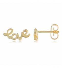 Pendientes de plata Chapado en Oro Love dorado