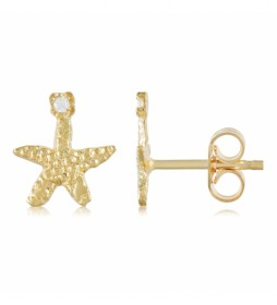 Pendientes Chapados en Oro Estrella con Circonitas dorado
