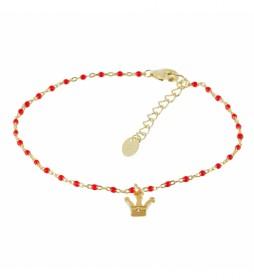 Pulsera Rosario Chapado en Oro Corona con Circonitas rojo