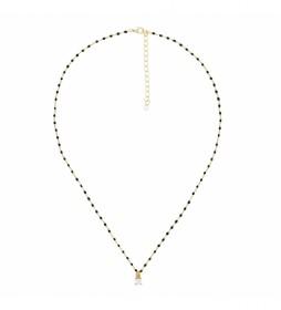 Collar de Plata Chapado en Oro Cadena con Circonita negro, dorado