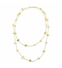 Collar Piedra Natural plata chapado amarillo -90cm-