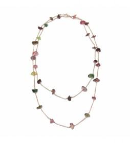 Collar Piedra Natural plata chapado rosa turmalida -90cm-