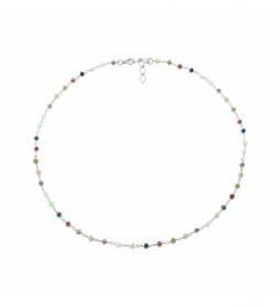 Collar Rosario Espinelas plata multicolor -40-42 cm-