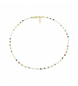 Collar Rosario Espinelas plata chapado multicolor -40-42 cm-