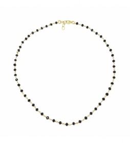 Collar Rosario Espinelas plata chapado negro -40-42 cm-