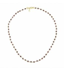 Collar Rosario Espinelas plata chapado rojo -40-42 cm-