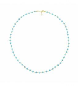 Collar Rosario plata chapado turquesa -40-42 cm-