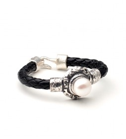Pulsera Desierto plata, perla, cordón