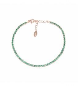 Pulsera Plata Chapada Oro Rosa Piedras Circonitas esmeralda  -16-20 cm-