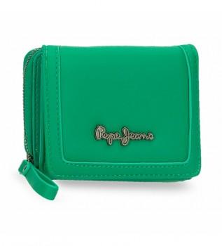 Acheter Pepe Jeans Aina portefeuille avec porte-monnaie -10x8x3cm- vert