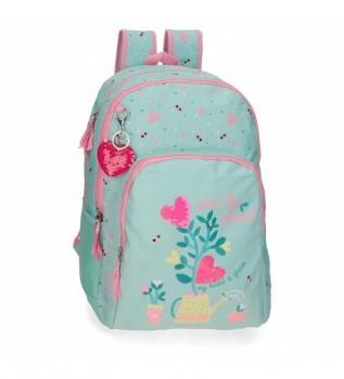 Acheter Movom Sac à dos scolaire en forme de pot de fleurs à deux compartiments turquoise -33x45x17cm