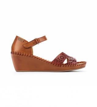 Buy Pikolinos Margarita 943 leather sandals maroon, brown -Height wedge: 5 cm