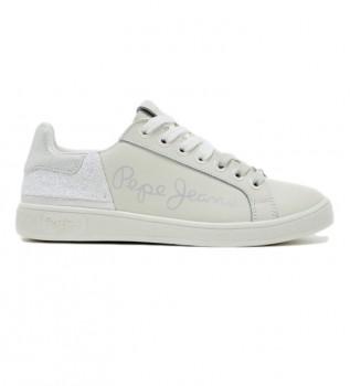 Acheter Pepe Jeans Baskets Brompton fun en cuir blanc, argenté