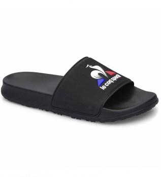 Acheter Le Coq Sportif Tongs noires Slide Logo