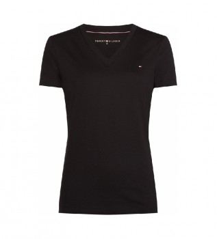 Comprare Tommy Hilfiger T-shirt nera con scollo a V Heritage