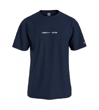 Comprare Tommy Hilfiger T-shirt blu navy con testo piccolo TJM