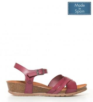 Sandalia De Piel azul Cuña: 3,5 cm