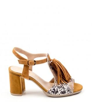 D'chicas - Sandalias de piel Greka marrón jm6wDA7q5y
