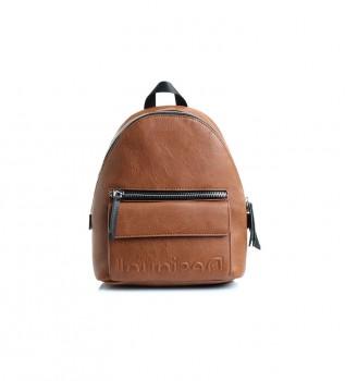 Buy Desigual Embossed Half Mombasa mini brown backpack - 22.7x11x29cm