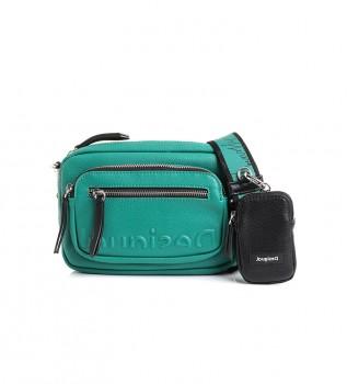 Buy Desigual Embossed Half Cambridge mini bag green - 21.5x5x15cm