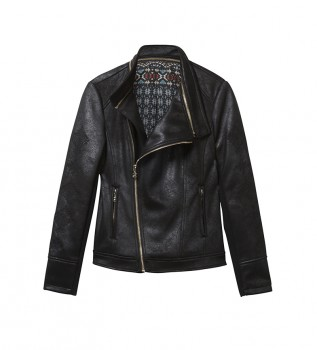 Buy Desigual Biker Jacket Removable Collar Black