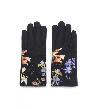 Buy Desigual Gloves Flowers and Text black